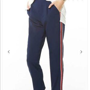 Cuffed Striped Trim Pants